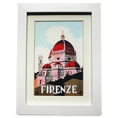 VINTAGE TRAVEL FIRENZE PRINT IN FRAME -  These vintage travel prints come in a white 15.5cm x 20.5cm frame. They are available in a range of vintage travel designs.