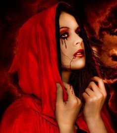 I like the make-up here for red riding hood, would it be possible to have this progressively get heavier throughout the play to symbolize the  loss of her innocence?