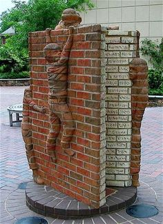 Life Is An Open Book- sculpture by Brad Spencer on The Green, South Tryon Street, Charlotte, North Carolina Arte Bar, Camping Am Meer, Art Public, Art Et Architecture, Brick Art, Book Sculpture, Outdoor Art, Land Art, Oeuvre D'art