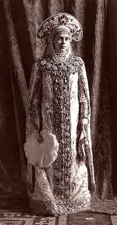 Grand Duchess Xenia Alexandrovna of Russia, dressed for a costume ball in traditional seventeenth-century
