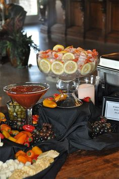 Love the large martini glass for the cocktail sauce and the small punch bowl to serve shrimp.