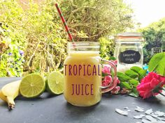TROPICAL JUICE Yummy Smoothies, Juice Smoothie, Tropical, Breakfast Time, Her Smile, Mason Jars, Chips, Coconut, Tasty