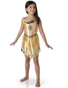 Déguisement classique Fairy tale Pocahontas™ : Ce déguisement de Pocahontas™ pour fille est sous licence officielle Disney™. Le déguisement se compose d'une robe satiné couleur chair avec l'imprimé...