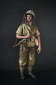 US Marine, Saipan customised figure by Ransome Chua American Soldiers, Toy Soldiers, Figure Model, Scale Model, Us Marines Uniform, North Platte, Military Action Figures, Crimean War, Korean War