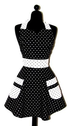 Black and White Polka Dot Apron Aprons Vintage, Vintage Dresses, Cute Aprons, Sewing Aprons, Bakery Design, Maid Dress, Simple Prints, Kitchen Aprons, Couture