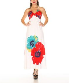 Take a look at this White & Red Flower Halter Dress by Radzoli on #zulily today!