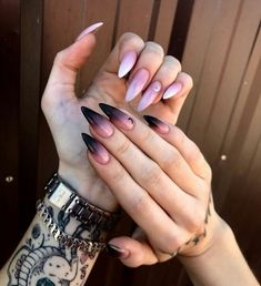 The new popular trendy nails ideas – - Manicure Nails Ideas Edgy Nails, Grunge Nails, Stylish Nails, Trendy Nails, Pink Nails, Cute Nails, Black Ombre Nails, Glitter Nails, Halloween Acrylic Nails
