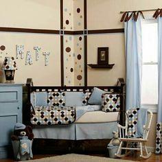 Polka dot theme nursery for little boy