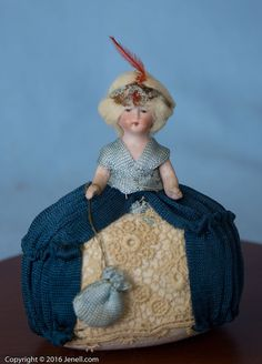 """Antique 4"""" Pin Cushion Half Doll w Jointed Arms Made in Austria"""