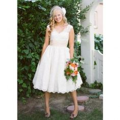 A-line Special Lace Wedding Dresses With Ribbon
