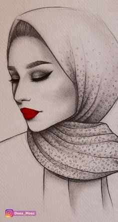 Pencil sketch, semi profile portrait of a girl with hijab and wearing a red  lipstick ♥ Click to see more on Instagram portrait drawings hijab art