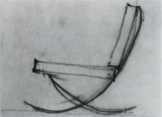 "Mies van der Rohe 1928 sketch of the ""scissor"" chair later to be named the Barcelona chair"