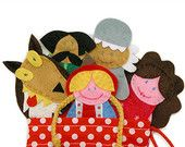 Little Red Riding Hood Finger Puppets Bag - 5 Felt Finger Puppets and Bag - Kids Felt Toy - pukaca