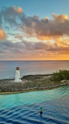 Nassau, Bahamas. Explore Paradise Island and discover the Hog Island lighthouse, the oldest and most famous lighthouse of island nation, built in 1817.