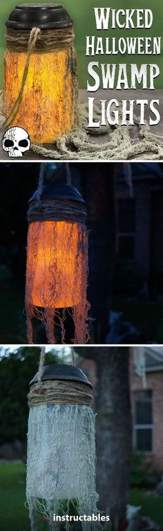 Solar-powered Halloween Lights Add just the right touch to your outdoor Halloween decorations with these solar-powered hanging mason jar lamps! Great for New Orleans or witchy themed decor. Halloween Tags, Halloween Prop, Diy Halloween Party, Halloween Outside, Dollar Store Halloween, Outdoor Halloween, Diy Halloween Decorations, Halloween 2019, Holidays Halloween