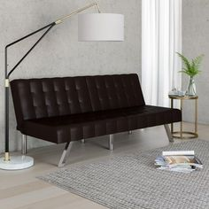 Mainstays Morgan Tufted Convertible Futon Multiple Finishes At