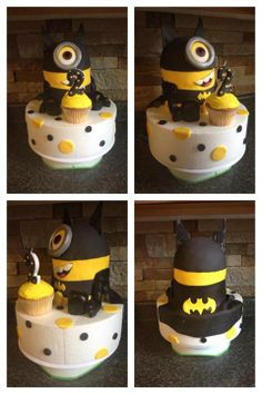 Seriously? My favorite superhero mixed up with an Minnion and all that as a cake!! Why did I never get such cool Birthday cakes?