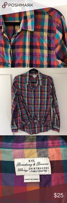 {Madewell} Fun Tie Waist Shirt Would look great with black jeans and booties. In great condition just a bit too big for me. Madewell line Broadway & Broome Madewell Tops Button Down Shirts