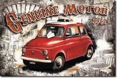 Posterazzi Car Genuine Motor White Canvas Art - Bresso Sola x Images Vintage, Vintage Ads, White Canvas Art, Paris Images, Decoupage Vintage, Car Posters, Car Drawings, Cute Illustration, Poster Prints