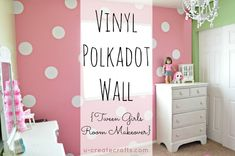 I'm so excited to show you my daughters room makeover! She's 10 years old, she loves pink and green, and she wanted a…. …polka dot wall! We were actually inspired by this photo. I placed the polka dots in a random pattern and used vinyl dots so they could easily be removed! We used …