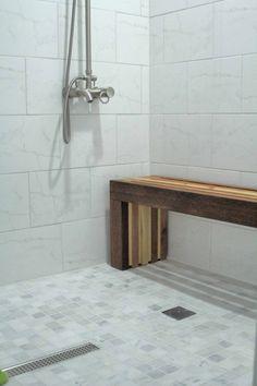 Stylish Teak Shower Bench for Bathroom Decor: Modern Minimalis ...