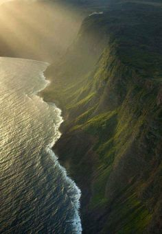 The sea cliffs of Molokai, Hawaii