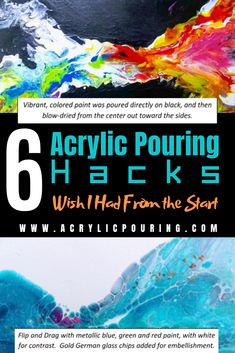 Check out these 6 helpful acrylic pouring hacks you should know. Have fun and the wonder of acrylic pouring will never end! via When you decide to get started to do some acrylic pours, you might alternately get inspired and then overwhelmed by Pour Painting Techniques, Acrylic Pouring Techniques, Acrylic Pouring Art, Painting Lessons, Acrylic Art, Acrylic Painting Tutorials, Diy Painting, Flow Painting, Painting Hacks