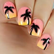 "Products used: Bright coral: ""Flip Flop Fantasy"" CG Peach: ""East Austin"" Color Club Mango-yellow: ""Metro Pollen-tin"" CG Black: acrylic paint Top coat: HK Girl Trendy Nails, Cute Nails, My Nails, Palm Tree Nail Art, Nails Yellow, Broken Nails, Beach Nails, Cute Nail Designs, Perfect Nails"