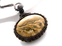 Picture Jasper Necklace /  Landscape Jasper / Natural stone jewelry / Macrame / Earthy Jewelry /  Gifts for guys / for him / men gift idea