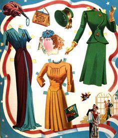 Claudette Colbert paper doll clothes