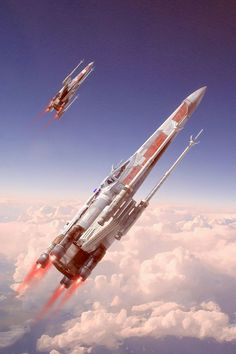 "Lightwave and Photoshop. X-Wing Model by Charles Wood. Cloud Stock by ""Secret Stock"""