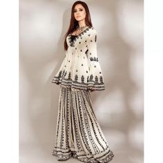 Salwar Suits : White georgette chain stich work sharara ... Indian Dresses, Indian Outfits, Indian Clothes, Afghani Clothes, Pakistani Outfits, Indian Designer Outfits, Designer Dresses, Sharara Suit, Salwar Suits