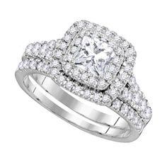 Halo Shape Style Center Princess Cut Diamond 0.64ct Round Diamonds Bridal Ring Set (1.50 ct.tw)- 404106331