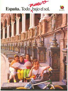 #Cartel de #Turismo de #Sevilla del año 1990. Plaza de España #Spain