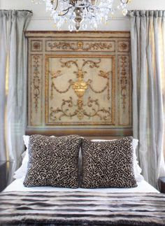 18th Century Gilt and Painted Door Panel as Headboard via Paint + Pattern