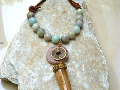 Boho Tribal Chic  Leather Amazonite Horn Pendant by JJuliusDesigns, $125.00