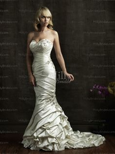 Trumpet/Mermaid Sweetheart Pleating Taffeta Chapel Train Wedding Dress at Millybridal.com