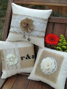 diy burlap flowers and lace pillow with pearl and initial pendant - home decoration burlap flowers Rustic Couch, Rustic Pillows, Burlap Pillows, Sewing Pillows, Couch Pillows, Decorative Pillows, Throw Pillows, Shabby Chic Pillows, Burlap Projects