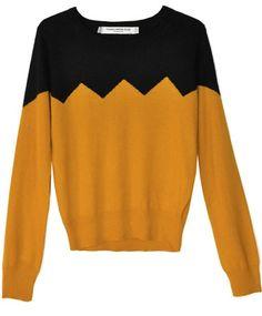 Something Else Charlie Brown Ochre Zig Zag Sweater