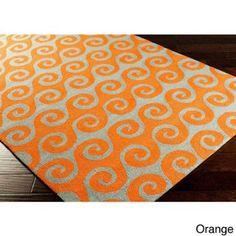 Hand-Hooked Michaela Wave Indoor/ Outdoor Area Rug-(9' x 12') Orange-(9' x 12') - Walmart.com