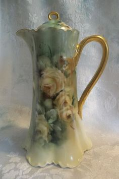 Haviland France Hand Painted Yellow Roses & Foliage Chocolate Pot Artist Signed