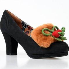 miss l fire shoes - black suede, faux fur, and mistletoe