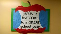 Jesus is the core bulletin board using an apple core. Goes great wit this Jesus is the core door. Catholic Bulletin Boards, Christian Bulletin Boards, Back To School Bulletin Boards, Preschool Bulletin Boards, Classroom Bulletin Boards, Bullentin Boards, Classroom Door, Preschool Classroom, Classroom Ideas