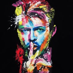 DAVID BOWIE NEON T-shirt WEARABLE ART Colorful Painted 3d *****NOT ONLY A PIECE OF COTTON *** You can also frame my David Bowie T-shirt, hand printed and painted by me on relief, you'll be dazzled by                                                                                                                                                                                  More