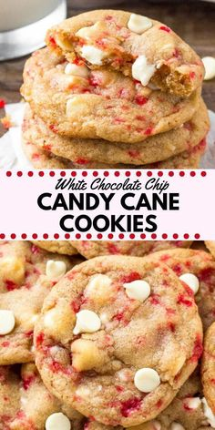 These white chocolate candy cane cookies are the perfect holiday chocolate chip . - These white chocolate candy cane cookies are the perfect holiday chocolate chip cookie recipe. They're soft, chewy, filled with Christmas cheer & super pretty! Köstliche Desserts, Holiday Desserts, Holiday Recipes, Delicious Desserts, Dessert Recipes, Holiday Cookies, Christmas Cookie Recipes, Dinner Recipes, Holiday Candy