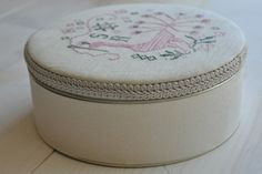 Fabric Covered Tin Tutorial, also has link for covering the inside of the tin plus other tutorials