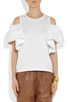 Chloé Drape-detailed cotton-jersey top NET-A-PORTER.COM