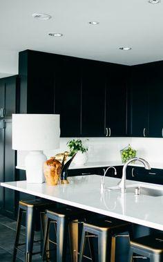 Sleek kitchen with white marble countertops and stools  http://www.toronto-realestate.biz/Condominiums >> #FREE #Toronto Condos Hot #New #Listings and much more... ★ Manoj Atri, #REALTOR® ☎ [416] 275-2089 E: Manoj@ManojAtri.com ★ #Condos #CondosForSale #Condominiums #CondoBuying #CondoSelling