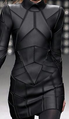 Geometric Fashion - black on black dress with stitched shape segments - futuristic suit; structured fashion details // Gareth Pugh Fashion leather articles at 60 % wholesale discount prices Gareth Pugh, Dark Fashion, Leather Fashion, Fashion Art, Womens Fashion, Fashion Design, Fashion Ideas, Ankara Fashion, Classy Fashion