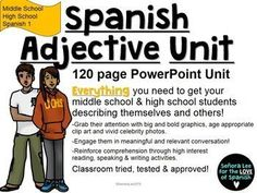 Everything you need for an entire unit to get your middle and high school students actively engaged in describing themselves and others using Spanish adjectives and ser!  120 pages of engaging and meaningful activities to promote reading, listening, speak